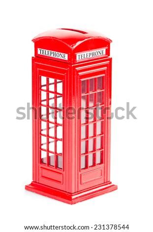 London red telephone box (souvenir) on white background  - stock photo
