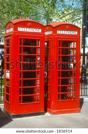 London red telephone boxes - stock photo