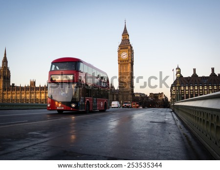 London Routemaster Bus on Westminster Bridge - stock photo