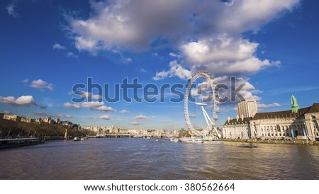 London's panoramic skyline view on a sunny day with beautiful blue sky and clouds - London, UK - stock photo