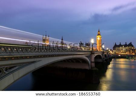 London's Parliament Bridge at Dusk - stock photo