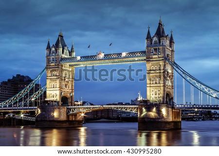 London's Tower Bridge at twilight - stock photo