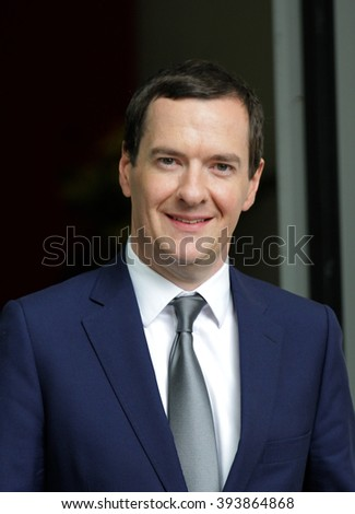 LONDON - SEP  6, 2015: Chancellor George Osborne seen at the BBC Broadcasting House for the Andrew Marr Show on Sep 6, 2015 in London - stock photo