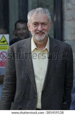 LONDON - SEP 10, 2015: Jeremy Corbyn Labour Party speaks to supporters at the Rock Tower on Sep 10, 2015 in London - stock photo