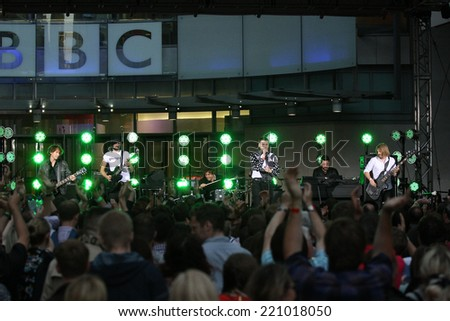 LONDON - SEP 03: Kasabian performing outside the BBC studios for the One Show on 03, Sep, 2014 in London