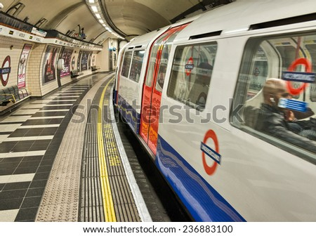 LONDON - SEP 28: London Underground train station on September 28, 2012 in London. London Underground is the 11th busiest metro system worldwide with 1.1 billion annual rides - stock photo
