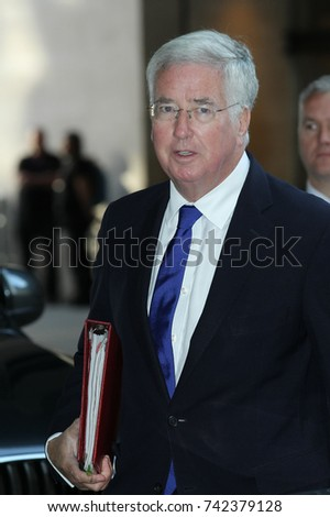 LONDON - SEP 10, 2017: Michael Fallon Secretary of State for Defence attends the BBC Andrew Marr Show at the BBC Studios in London