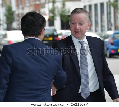 LONDON - SEP 13, 2015: Michael Gove, Conservative politician seen leaving the BBC Andrew Marr Show on Sep 13, 2015 in London