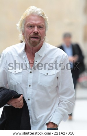 LONDON - SEP  15: Sir Richard Branson seen arriving at the BBC building on Sep 15, 2014 in London - stock photo