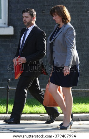 LONDON - SEP 2, 2014: Stephen Crabb and Nicky Morgan seen at Downing street on Sep 2, 2014 in London