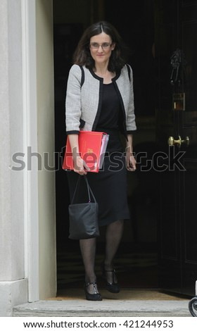 LONDON - SEP 15, 2015: Theresa Villiers MP seen attending the cabinet meeting in Downing Street on Sep 15, 2015 London