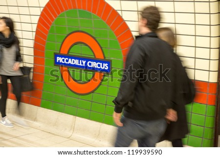 LONDON, SEP 28: Underground tube station in London on September 28, 2012. The London Underground is the oldest underground railway in the world covering 402 km of tracks - stock photo