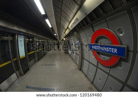 LONDON, SEP 28: Underground tube station, September 28, 2012. The London Underground is the oldest underground railway in the world covering 402 km of tracks - stock photo