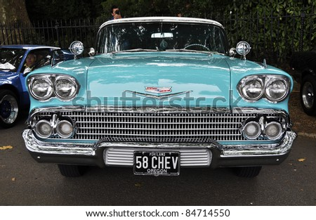 LONDON - SEPTEMBER 04: A vintage Chevrolet at Chelsea AutoLegends, on September 04, 2011 in London. - stock photo