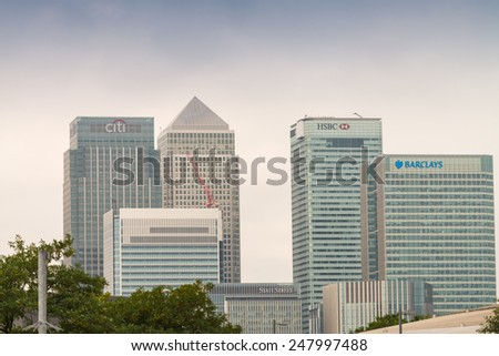 LONDON - SEPTEMBER 27, 2013: Canary Wharf buildings. Canary Wharf is the major financial district in London.