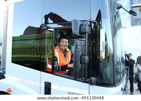 London, September 30th 2016. London's deputy mayor for Transport, Val Shawcross,  sits behind the steering wheel of a Mercedes-Benz truck at a media event.