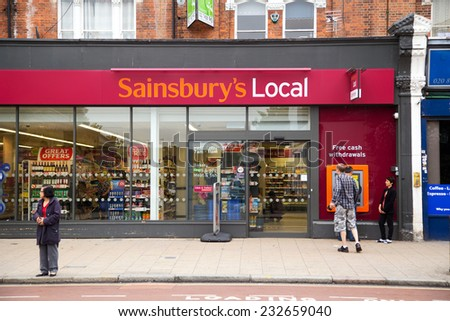 LONDON - SEPTEMBER 5TH: The exterior of an sainsbury's supermarket on September the 5th, 2014, in London, England, UK. Sainsbury's is one of the UK's leading  supermarkets. - stock photo