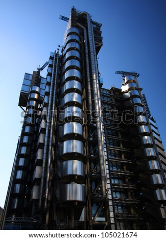 LONDON - SEPTEMBER 24: The Lloyd's building in London, viewed on September 24, 2009 was granted a Grade 1 listing building status in 2011. - stock photo
