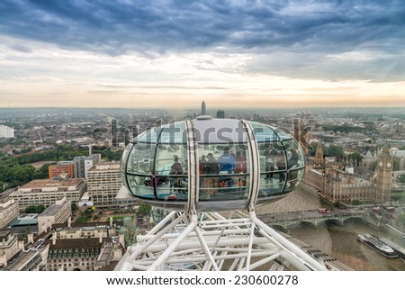 LONDON - SEPTEMBER 28, 2013: View of London Eye, Europe's tallest Ferris wheel on the South Bank of the River Thames, a famous tourist attraction.
