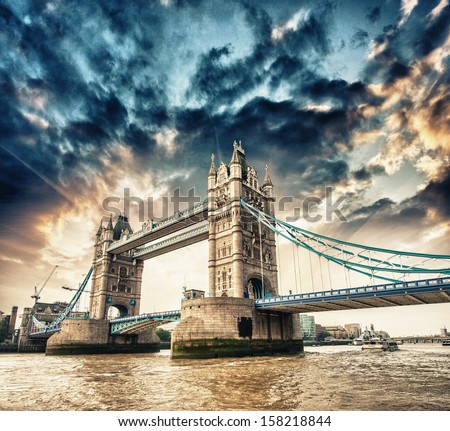 London. Side view of Tower Bridge in all its magnificence. - stock photo