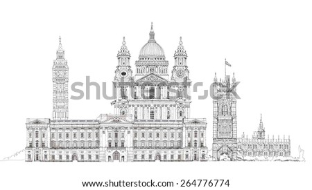 London, sketch illustration. Big Ben, Parliament, st. Paul cathedral and palace - stock photo