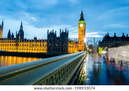 london skyline and big ben - stock photo