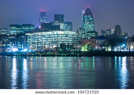 London skyline at night, UK. - stock photo