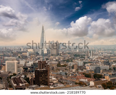London skyline at sunset - Aerial view. - stock photo