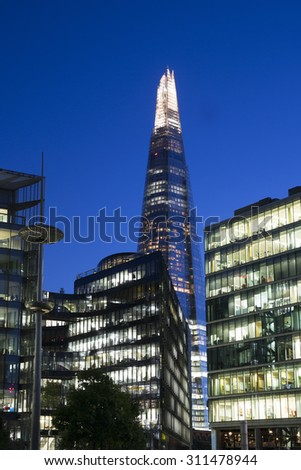 London Skyline at the Riverside area and the Shard. - stock photo