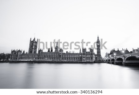 London skyline black and white - stock photo