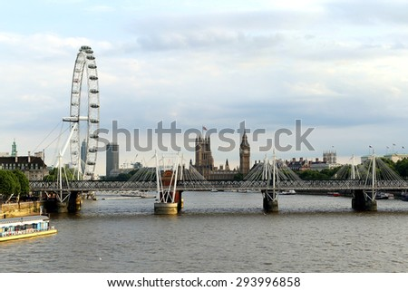 London skyline from Waterloo bridge: London Eye, Parliament, Big Ben - stock photo