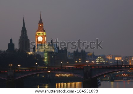 London skyline, include Big Ben and Central Tower, seen from South Bank
