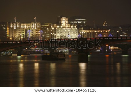 London skyline, include Lambeth Bridge and Westminster Bridge, seen from South Bank   - stock photo