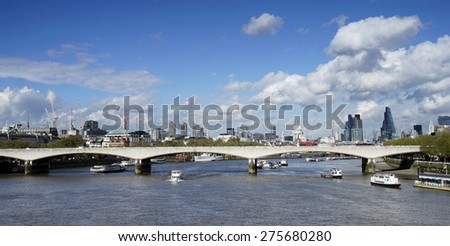 London skyline, include Waterloo Bridge, seen from Hungerford Bridge 