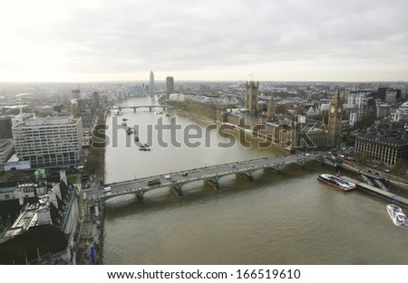 London skyline, include Westminster Palace, Big Ben, Thames River and Westminster Bridge, seen from London Eye, Millennium Wheel.   - stock photo