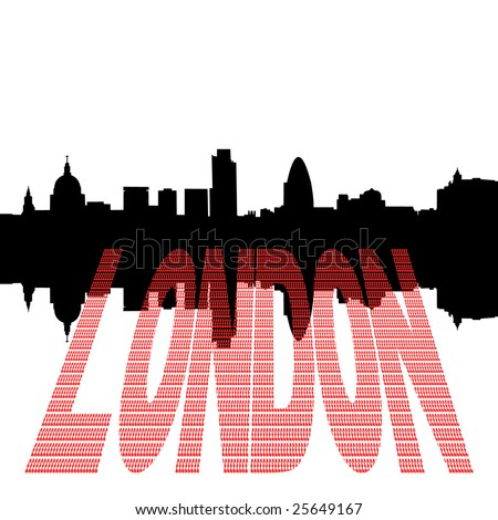 London Skyline including St Pauls Cathedral with pound symbol text illustration - stock photo