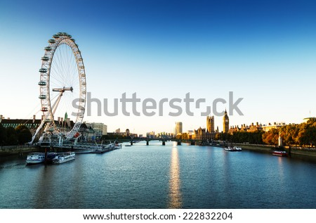London Skyline landscape at Sunrise with Big Ben, Palace of Westminster, London Eye, Westminster Bridge, River Thames, London, England, UK. - stock photo