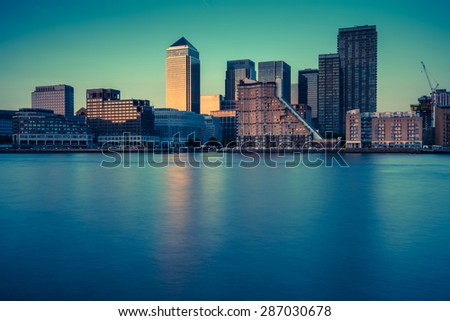 London skyline over river Thames at twilight,vintage photo effect - stock photo