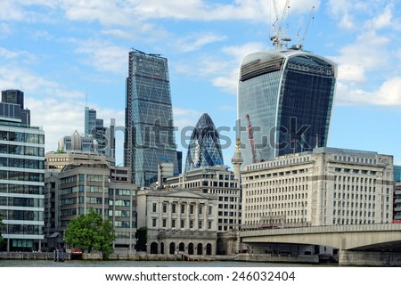 London skyline seen from the Thames river, London, UK. - stock photo