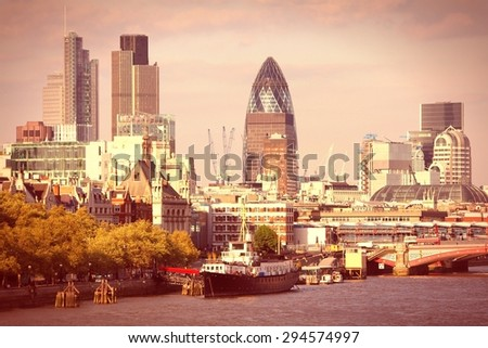 London skyline, United Kingdom - cityscape with modern buildings. Retro filtered color style.