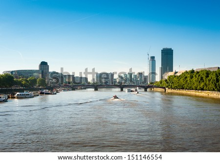 London skyline, view from the Thames river.