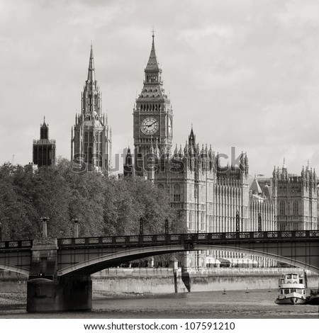 London skyline, Westminster Palace, Big Ben and Victoria Tower, seen from South Bank - stock photo