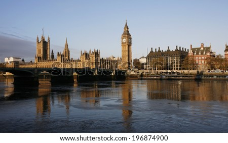London skyline, Westminster Palace, Big Ben, Victoria Tower and Central Tower, seen from South Bank   - stock photo