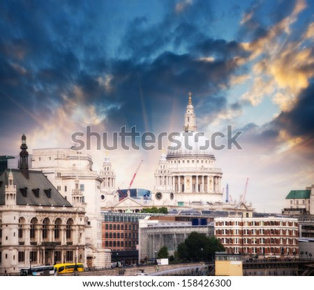 London skyline with St Paul Cathedral and surrounding buildings. - stock photo