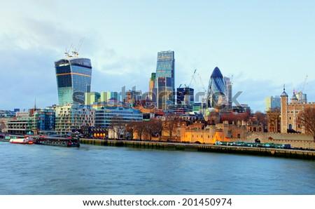 London Skylines at dusk England UK - stock photo