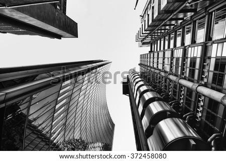 London skyscraper in Black and White - stock photo