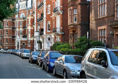 London street in Kensington - stock photo