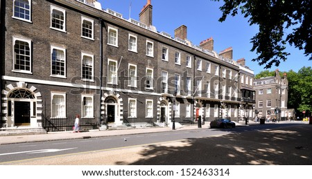 London street of preserved 18th century Georgian terraced houses.