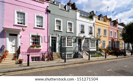 London street of terraced houses without parked cars.  - stock photo