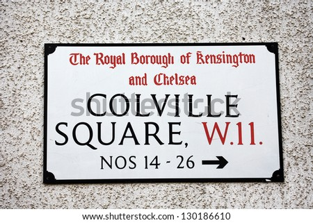 London Street Sign, COLVILEE SQUARE, Borough of Kensington and Chelsea